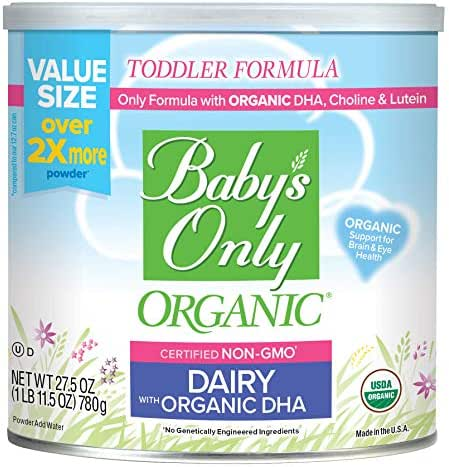 Baby's Only Dairy with DHA & ARA Toddler Formula - Non GMO, USDA Organic, Clean Label Project Verified, Value Size (Pack of 6), 165 oz