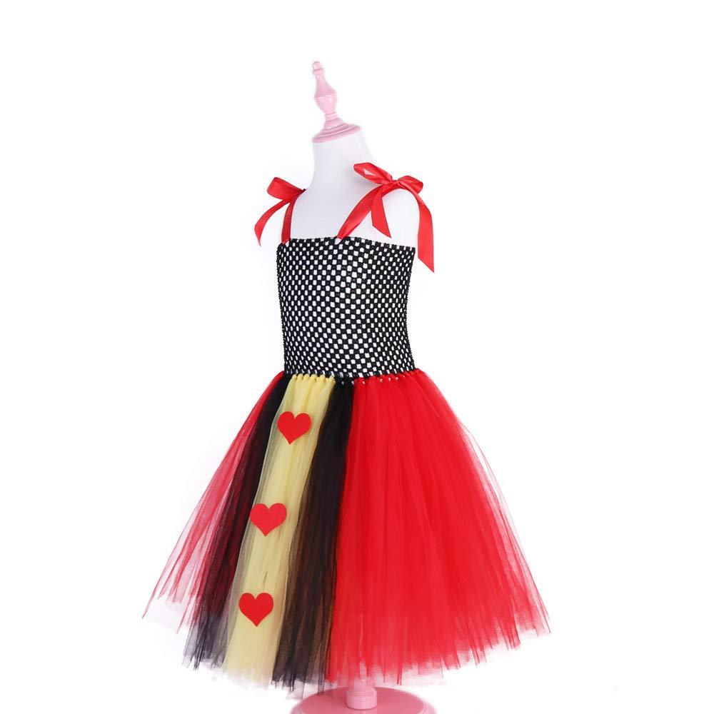 QinMM Sorci/ère F/ête Tutu Tulle Ballet Danse /à Bretelle Ajustable Dentelle Lacet 1-6 Ans Robe pour Halloween Fille Princesse Forme de Coeur Costume Carnaval Anniversaire Enfant Mariee