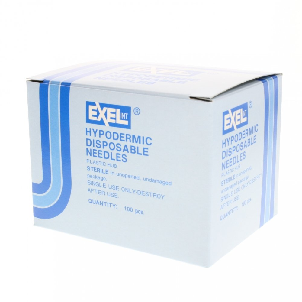 100pk 23 g 1 1/2 inch Exel by Exel International 23 g 1 /2 inch Needle 100bx