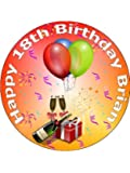 """7.5"""" 18th Birthday Cake Toppers Decorations For Boys & Girls Personalised on Rice Paper - [Please use the 'Contact Seller' link to send us your personalised message for your topper.]"""