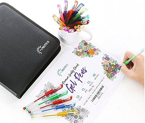 myPALETTEUS 96 Color Gel Pens for Adult Coloring Books- Ink Gel Pens Set with UPGRAGED Case Includes 48 Artist Coloring Pens: 24 Glitter 12 Metallic 12 Neon Plus 48 Refills Bonus Adult Coloring Book by myPALETTEUS (Image #10)