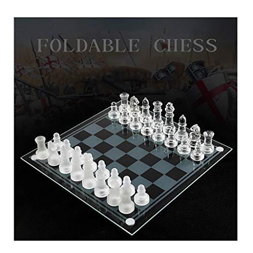 CAIM Cristal de ajedrez de Cristal, Exquisito Vidrio cristalino de Alta especificación Juego de ajedrez, Cubierta de…