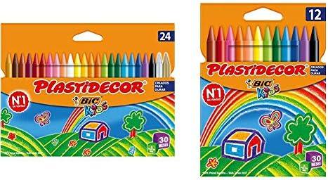 BIC Kids Plastidecor- Blíster de 24 unidades, ceras para colorear, colores surtidos + Kids Plastidecor Blíster de 12 unidades, ceras para colorear, colores surtidos: Amazon.es: Oficina y papelería