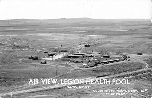 Saco Montana Aerial View of Legion Health Pool Real Photo Postcard (Legion Pool)