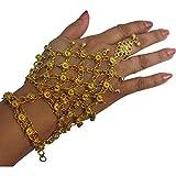 Indian Gypsy Traditional Belly Dance Gold-Toned Bells Adjustable Slave Bracelet Anklet