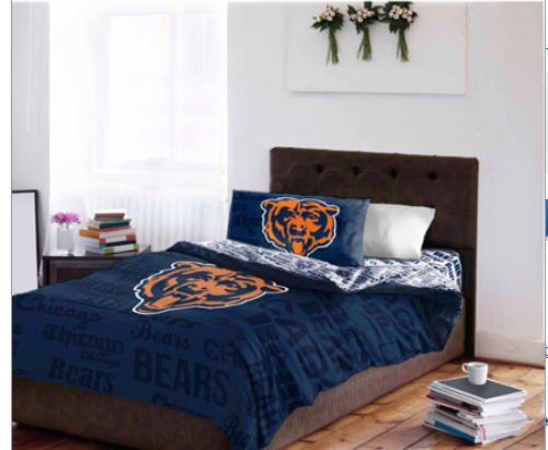 Set Bears Chicago Sheet Full (NFL Chicago Bears Full Comforter & Sheets (5 Piece Bed In A Bag))