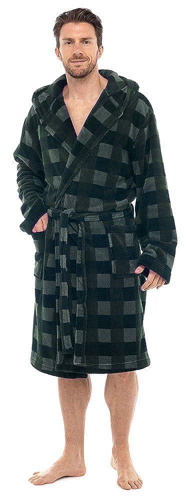 Tom Franks Mens Hooded Check Fleece Bathrobe Dressing Gown MROBE-HT041