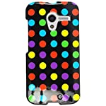 Cell Armor Motorola Moto X Deluxe Snap On Case – Retail Packaging – Colorful Polka Dots On Black