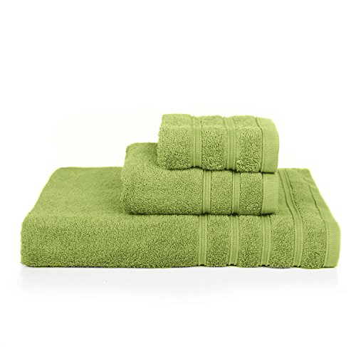 PROMIC 100% Cotton Bath Towel Set ,3 Piece Includes 1 Bath Towels, 1 Hand Towels, and 1 Washcloths(Green)