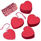 Zealor Red Kraft Paper Gift Tags Heart Shape with