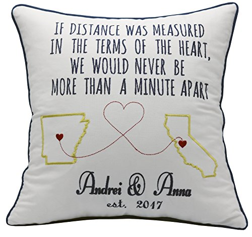YugTex Pillowcases Long Distance BoyFriend Christmas Gifts Personalized Husband Gift Fiance Military Deployment for Husband Wife Quote Love State U.S Country