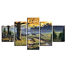 Autumn Forest Deers Pictures Animal Trees Scenery 5 Panels HD Modern Landscape Artwork Canvas Prints Abstract Pictures Sensation to Photo Paintings on Canvas Wall Art for Home Decorations Wall Decor,30x40 30x60 30x80cm,Frame