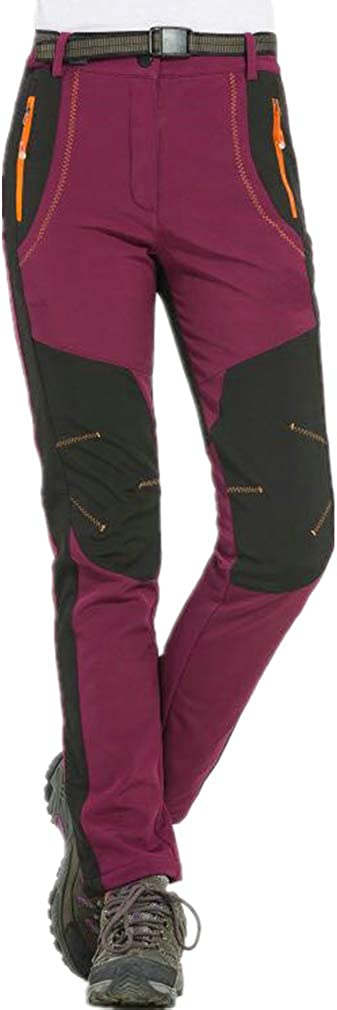 hibote Mujer Hombre al Aire Libre de Estiramiento de Fleece Forrada Senderismo Pantalones de Escalada Pantalones de Carga de montaña Transpirable para Ropa Deportiva de Invierno S-5XL