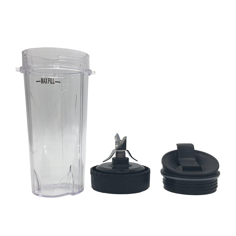 Nutri Blender Pro Extractor Blades and 16oz.Cup with Sip & Seal Lid for Nutri Ninja Blender /BL770/BL771, Replacement Blade Assembly for Nutri Ninja BL660/BL663/BL663CO/BL665Q -COLOR IS BLACK