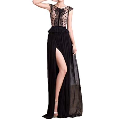 ShineGown Evening Cocktail Dresses For Women Prom Gowns Ladies Long Sheath Sheer Applique Lace Black (