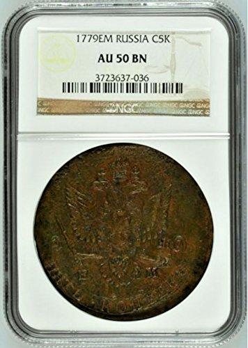 1779 RU Russian Empire 1779 EM Cooper Coin 5 Kopeks Cathe 5 Kopeks AU 50 NGC