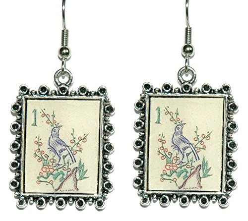 (Mahjong Inspired Bird Framed Dangle Earrings)