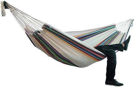 Hamaca de doble lona a rayas, hamaca de Lazy Daze para colgar al aire libre, hamaca de jardín o patio (2 sin soporte): Amazon.es: Hogar