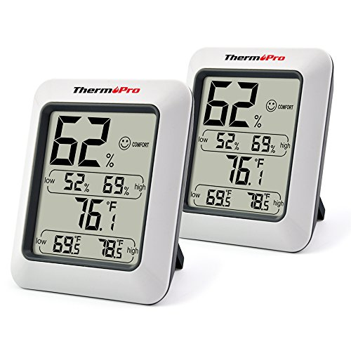 ThermoPro TP50 2 Pieces Digital Hygrometer Indoor Thermometer Humidity Monitor with Temperature Humidity Gauge
