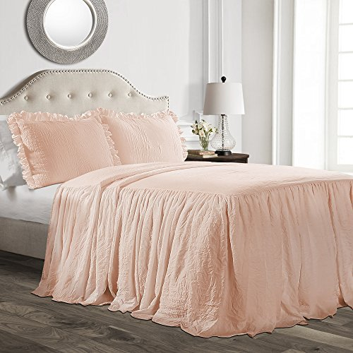 Lush Décor Ruffle Skirt Bedspread Blush Shabby Chic Farmhouse Style Lightweight 2 Piece Set, Twin, (Pink Blush Quilt)