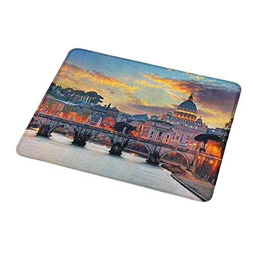 Mouse Pad Custom Italy,Vatican Rome View in The Evening Famous Basilica Landmark Travel Destination Image,Personalized Design Non-Slip Rubber Mouse pad 9.8