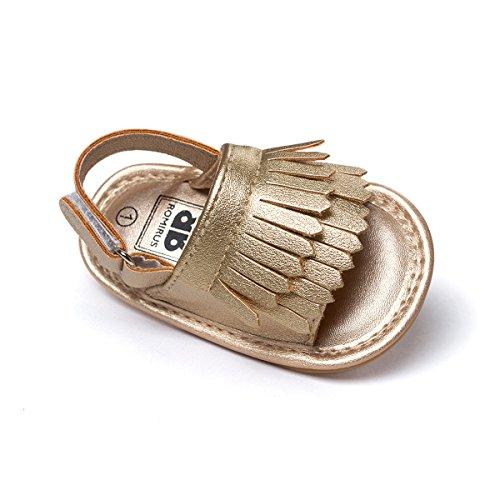 Kuner Unisex Baby Tassel Rubber Sole Non-Slip Summer Prewalker Sandals First Walkers (12cm(6-12months), Golden)