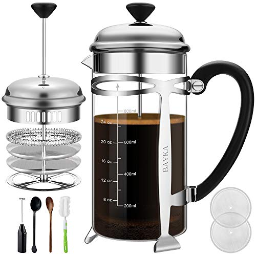 French Press Coffee Tea Maker (34 oz), BAYKA 304 Stainless Steel Coffee Press with 4 Level Filtration System, Heat Resistant Thickened Borosilicate Glass
