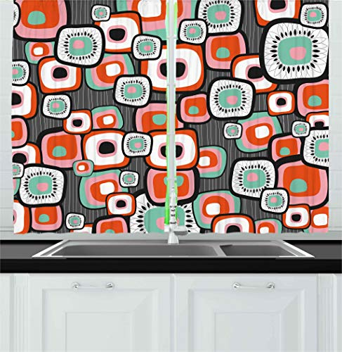 Ambesonne Country Kitchen Curtains, Funky Square Shaped Lava Flowers with Abstract Inner Forms Print, Window Drapes 2 Panel Set for Kitchen Cafe, 55 W X 39 L Inches, Mint Baby Pink Orange Grey