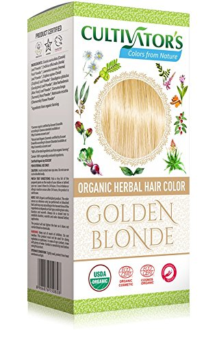 CULTIVATOR'S - Organic Herbal Hair Color - Golden Blonde - Herbal Blend for Hair Dye and Care - Covers White Hair - No PDD and Harmful Ingredients - USDA and Ecocert Certified -100 gr ()