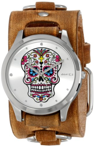 Cuff Watch Skull (Nemesis Women's BFRB925S Punk Rock Collection Silver Sugar Skull Leather Cuff Band Watch)