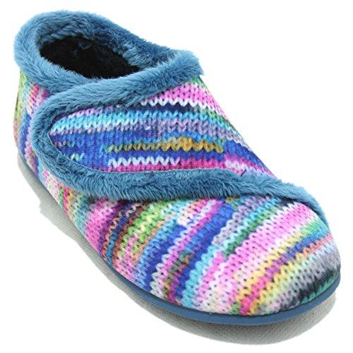 Vulcabicha 215 - Zapatillas Cerradas con Velcro de Estampado de Lana Multicolor Multicolor