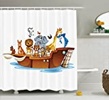Ambesonne Religious Shower Curtain, Illustration of Many Animals Sailing in the Boat Mythical Journey Faith Giraffe, Fabric Bathroom Decor Set with Hooks, 70 Inches, Multicolor
