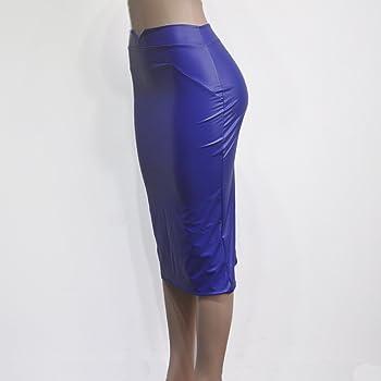 Faldas Midi Mujer Elegante Otoño Invierno Falda Cuero Tubo Polares ...
