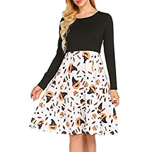 Women's Long Sleeve Halloween Pumpkins Print Swing Dress Sexy Backless Criss Cross Party Dress