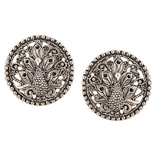 Efulgenz Boho Vintage Antique Ethnic Gypsy Tribal Indian Oxidized Silver Peacock Big Stud Earrings Jewelry