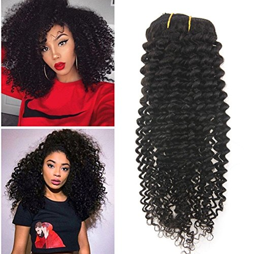 Search : Ugeat 14inch Unprocessed Hair Afro Kinky Curly Clip in Human Hair Extensions for African American Women Natural Color Kinky Curly Clip Ins 7pcs/set 120g