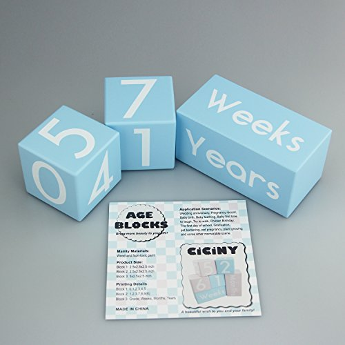 CICINY Age Blocks for Baby Pictures Wood Newborn Photography Props and Milestone Keepsake Gifts to Boy Girl Baby Or Pets (Blue) by CICINY (Image #2)