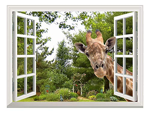 Wall26 Creative Wall Sticker - A Curious Giraffe Sticking Its Head into an Open Window | Cute & Funny Wall Mural - 36
