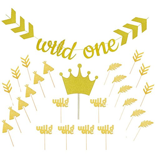 Sakolla Wild One Gold Glitter Banner Sign with Gold Glitter Crown Cupcake Toppers,Wild One Cupcake Toppers Feather Arrow Teepee for Wild One Boho Tribal Themed First Birthday Party ()