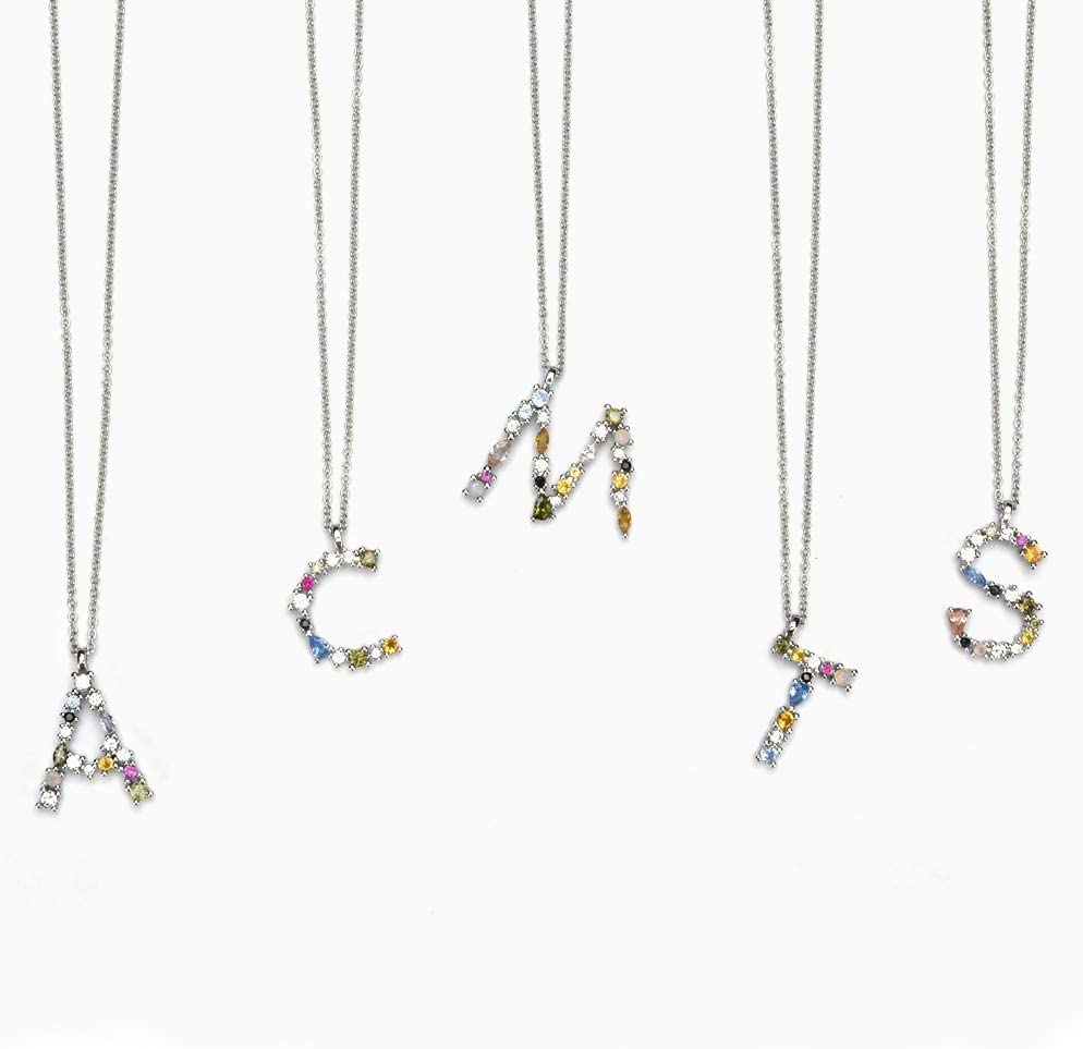 Moonnight Store 925 Sterling Silver 26 Letters Gold Initial Letter A B Pendant Necklace Thin Long Chain Adjustable Mini P G CZ Jewelry Silver B