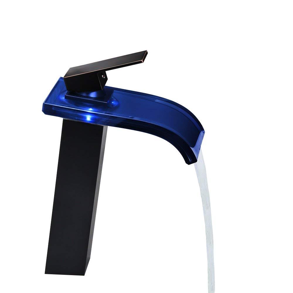 Grifo de bañ o moderno con cascada LED de cristal de KunMai