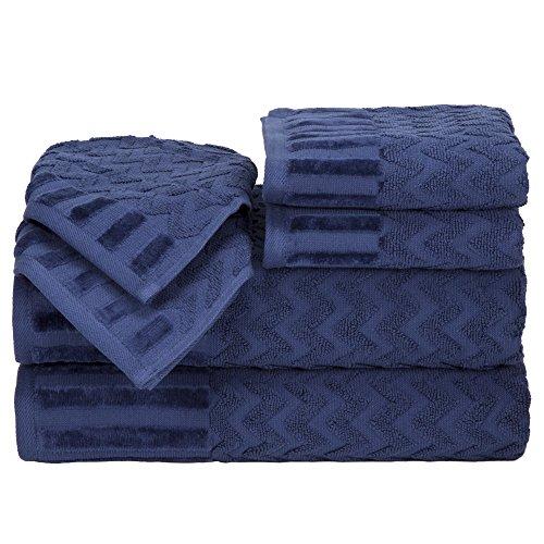 - Bedford Home Chevron  Cotton 6 Piece Towel Set - Navy
