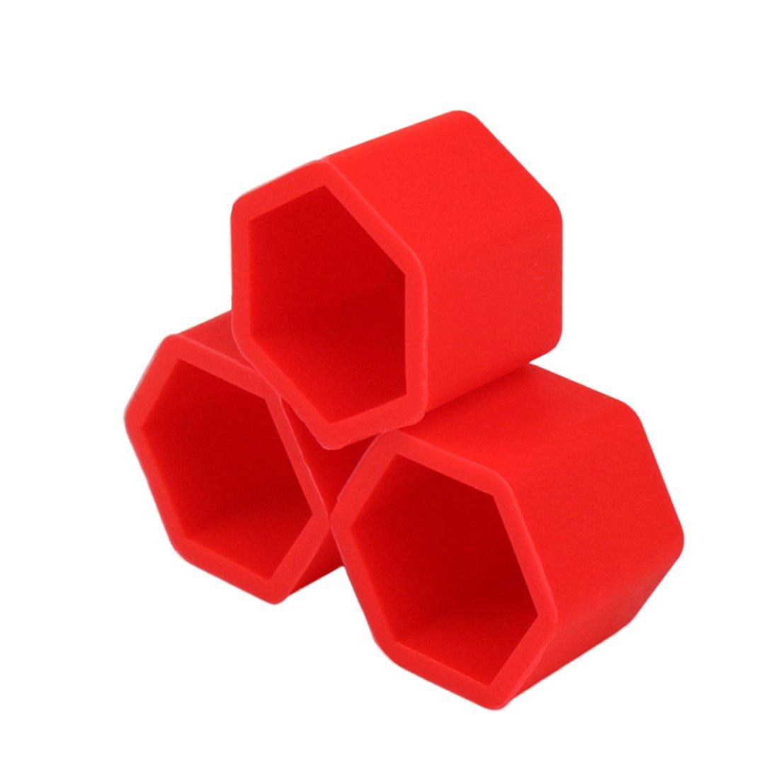 Larcele Silicone Couvercle de Boulon de Roue de Voiture Pneus Vis Capuchon 19mm 20 Pi/èces LSBHT-01 Rouge