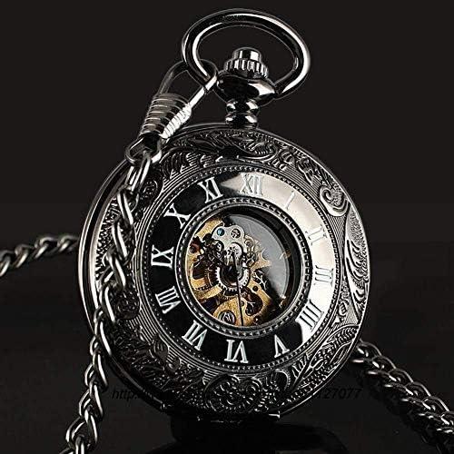 レトロなフリップ機械式懐中時計ローマンスケールメンズポケットウォッチネックレスジュエリー表学生の創造性、色名:1 (Color : 1)