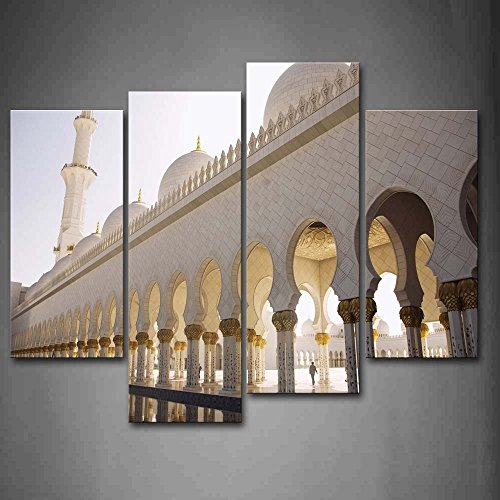 First Wall Art - White Sheikh Zayed Grand Mosque Wall Art Painting Pictures Print On Canvas Religion The Picture For Home Modern Decoration by Firstwallart
