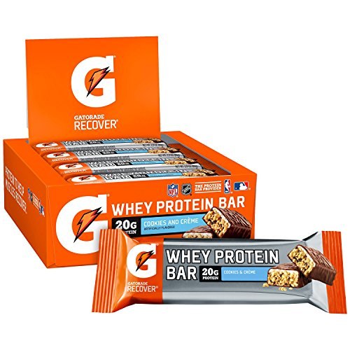 Gatorade Whey Protein Bars, Cookies & Crème, 2.8 oz bars (Pack of 12, 20g of protein per bar)