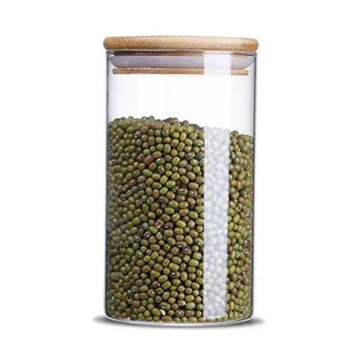 (Glass Storage Jar,Kitchen Food Containers with Bamboo Lid Make It Airtight Size 3.15x5.90inches 25 oz - 750ml)