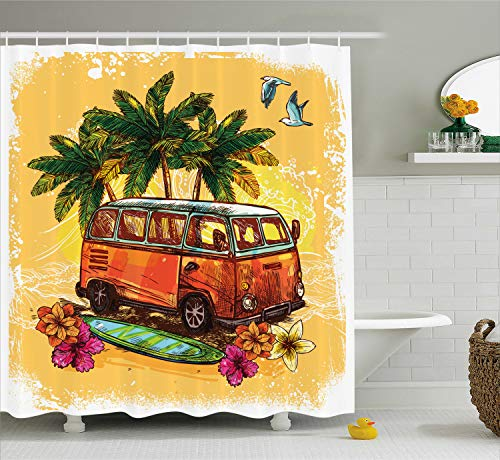 Ambesonne Surf Shower Curtain, Hippie Classic Old Bus with Surfboard Freedom Holiday Exotic Life Sketchy Art, Fabric Bathroom Decor Set with Hooks, 70 Inches, Yellow Orange