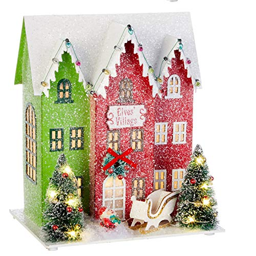 10.25-Inch Rustic Lighted North Pole Christmas Village Decoration – Tabletop Decorative Holiday Home Decor with Timer…