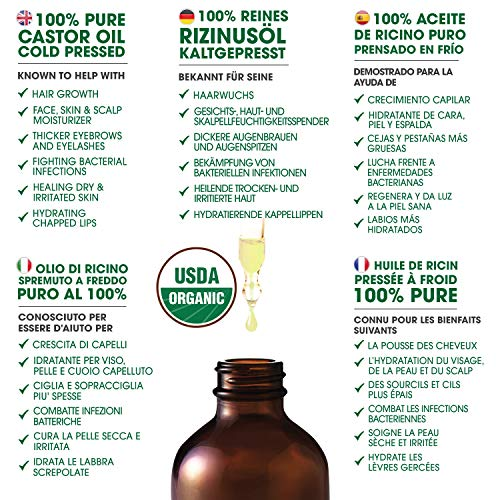 Organic Castor Oil For Eyelashes and Eyebrows (4oz), Hexane Free, Prevents Hair Breakage & Fall, Thickens Eyelashes, Natural Moisturizer